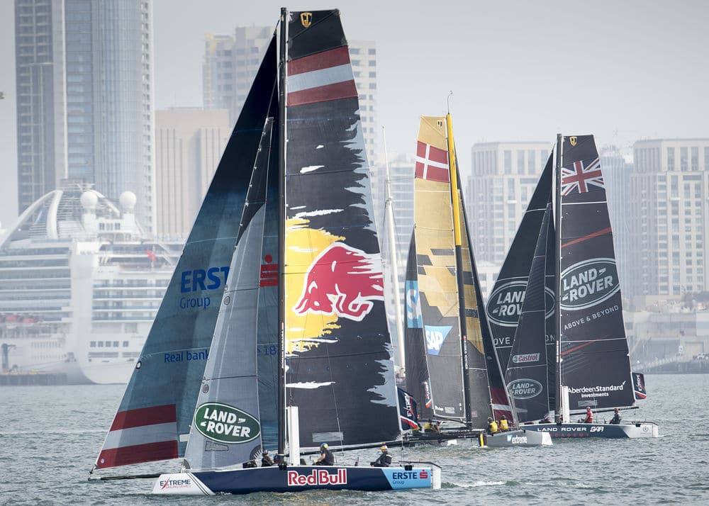 The Extreme Sailing Series™ made its debut in San Diego today with an international fleet of eight GC32s. © Lloyd Images ALT