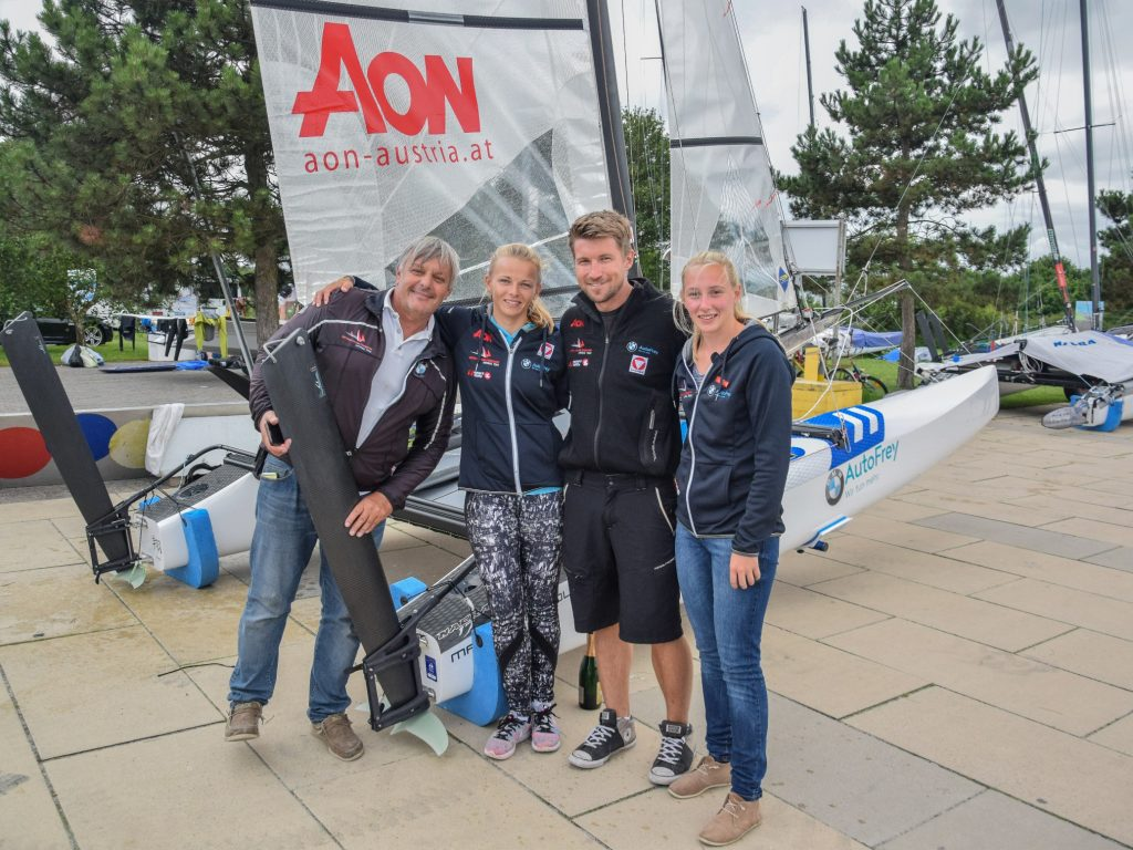 Nacra 17 Taufe in Kiel: Trainer Angelo Glisoni
