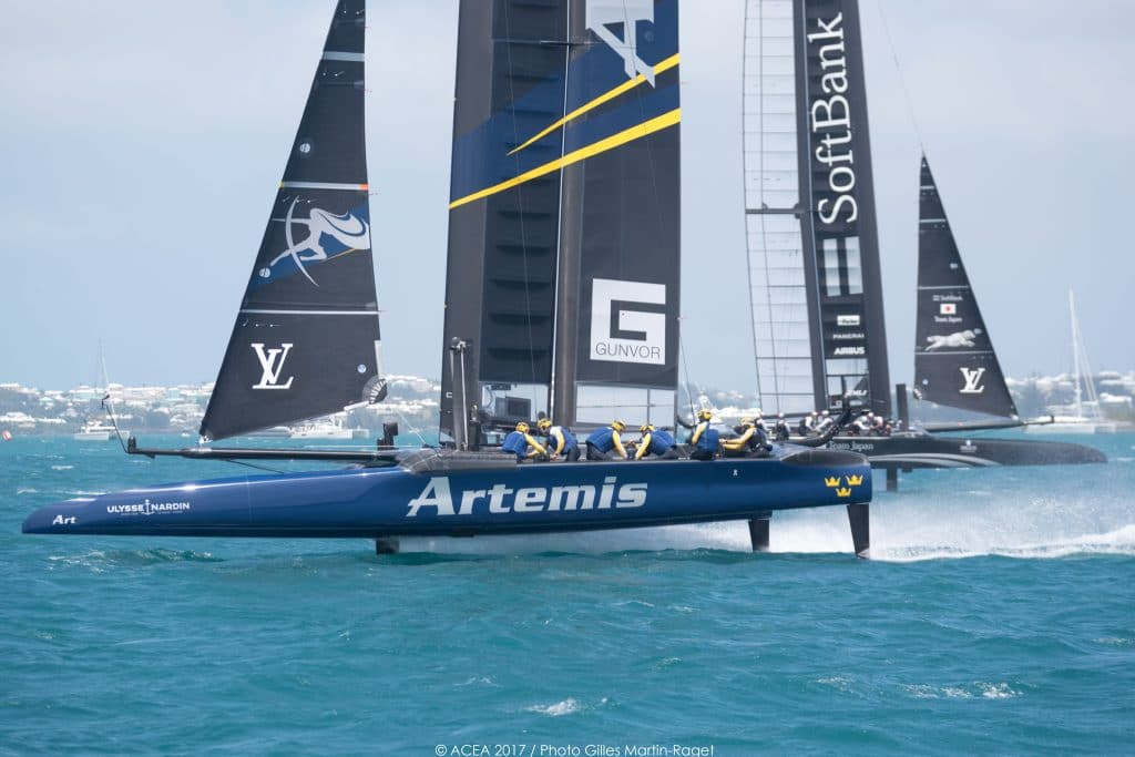 Outteridge leads Artemis Racing to fourth consecutive win on the road to the Finals. Photo: Gilles Martin-Raget ALT